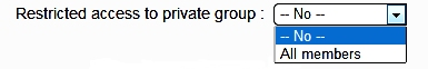 Restricted access to private group
