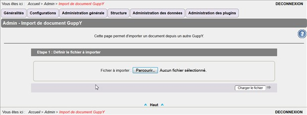 Importer un document d'un autre GuppY