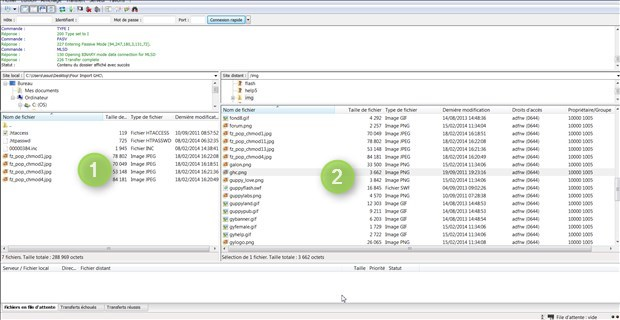 Interface FileZilla